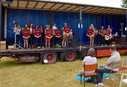 Moulton School Band performing on one of the trailers